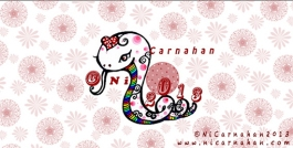 ©Ni Carnahan 2013 All Rights Reserved. Ni's illustration for the year of snake in Chinese lunar Calerdar