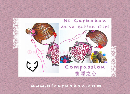 ©NiCarnahan2013. All Rights Reserved. Ni Carnahan's Asian Button Girl 02-Compassion closeup