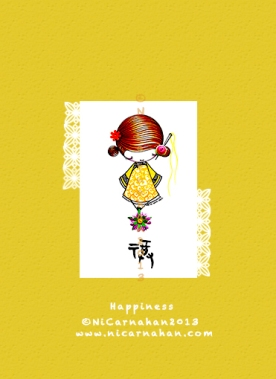 ©Ni Carnahan 2013. All Rights Reserved. Ni Carnahan's Asian Button Girl 05 Happiness 2013