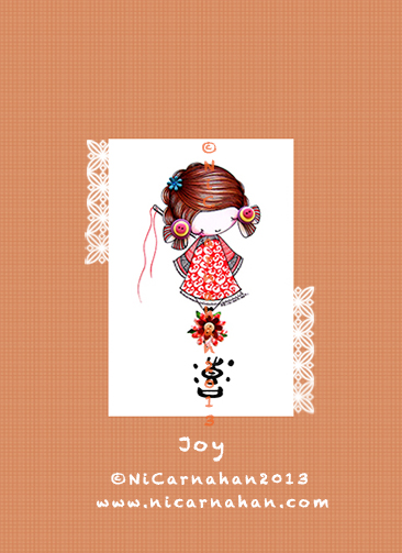 ©Ni Carnahan 2013. All Rights Reserved. Ni Carnahan's Asian Button Girl 06 Joy 2013