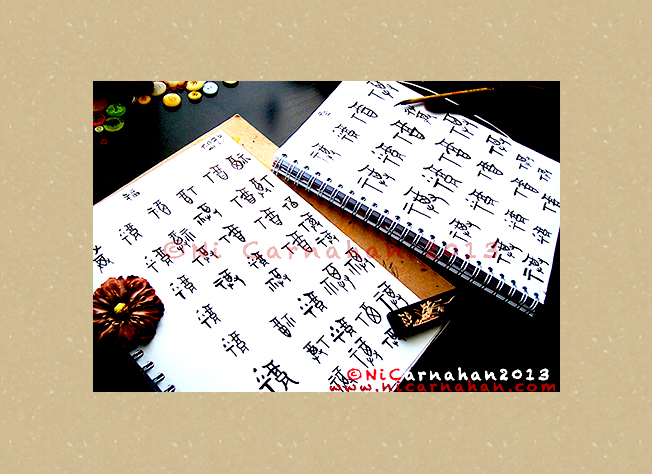 ©Ni Carnahan 2013. All Rights Reserved. Ni's handwritten Chinese calligraphy 02 2013