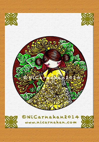 ©Ni Carnahan 2013. All Rights Reserved. 版權所有© 妮·康納漢- 保留所有版權權利!  Ni's Chrysanthenmum 2012-2014 Mixed Media