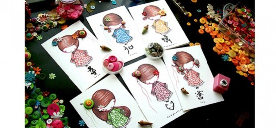 ©Ni Carnahan 2014. All Rights Reserved.版權所有© 妮·康納漢- 保留所有版權權利!! Ni's very first set of greeting card with my illustrations-Asian Button Girls 2014-2016!!!