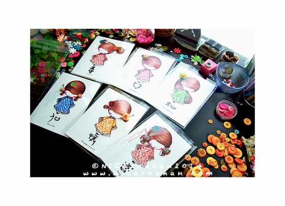 ©Ni Carnahan 2014. All Rights Reserved.版權所有© 妮·康納漢- 保留所有版權權利!! Ni's first set of greeting card with my illustrations!!!