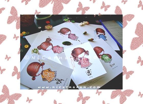 ©Ni Carnahan 2014. All Rights Reserved.  版權所有© 妮·康納漢- 保留所有版權權利!!  On Ni's Table Today: Asian Button Girls Greeting Card in progress 2014
