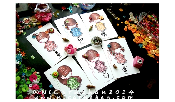 ©Ni Carnahan 2014. All Rights Reserved.版權所有© 妮·康納漢- 保留所有版權權利!!  Ni's very first set of greeting card with my illustrations-Asian Button Girls 2014!!!