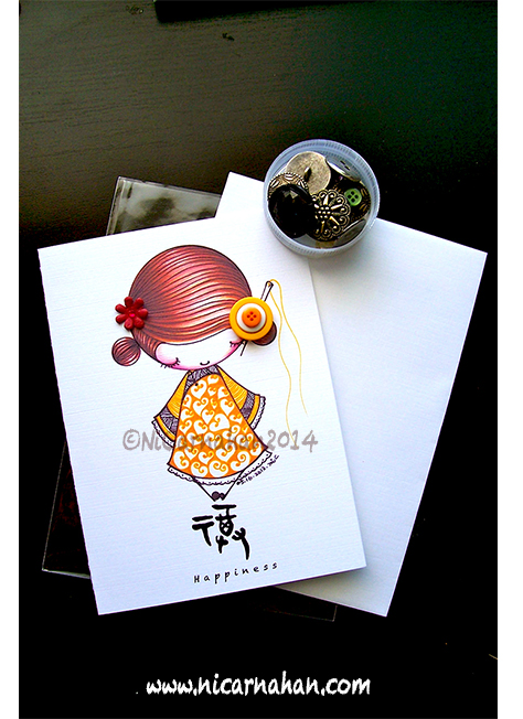 ©Ni Carnahan 2014. All Rights Reserved.版權所有© 妮·康納漢- 保留所有版權權利!!  Ni's very first set of greeting card with my illustrations-Asian Button Girls-Happiness 2014!!!